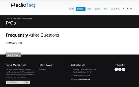 Screenshot of FAQ Page mediateq.ca - FAQs   MediaTeq - Cambridge Web Design, Social Media & Branding - captured Oct. 27, 2014