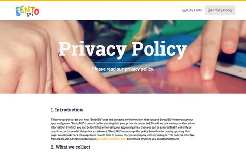 Screenshot of Privacy Page bentobit.com - Privacy Policy - captured Oct. 27, 2014