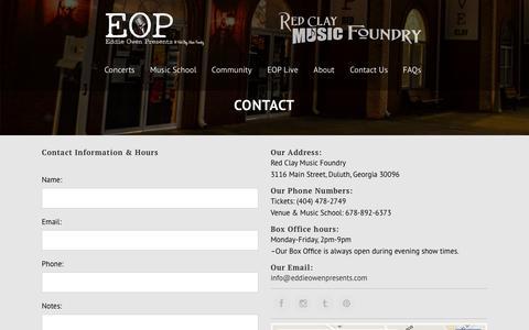 Screenshot of Contact Page Maps & Directions Page eddieowenpresents.com - Eddie Owen Presents |   Contact - captured June 10, 2016