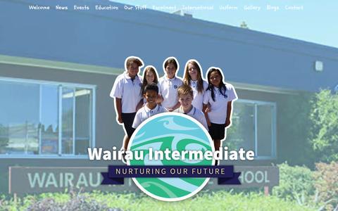 Screenshot of Home Page wairau.school.nz - Wairau Intermediate School | - captured June 14, 2016