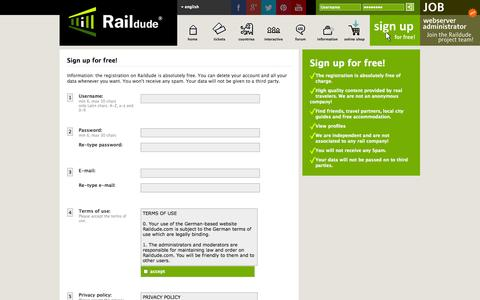 Screenshot of Signup Page raildude.com - Sign up for free. Raildude (en) - captured Sept. 18, 2014