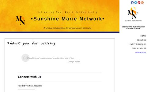 Screenshot of Contact Page sunshinemarienetwork.tk - Sunshine Marie Network | Contact Us - captured Oct. 1, 2014