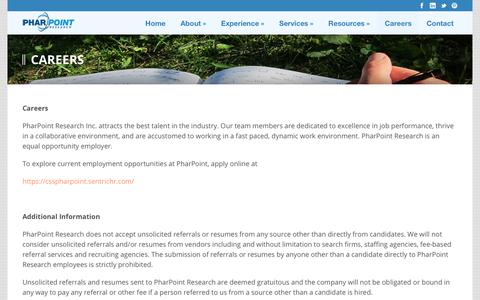 Screenshot of Jobs Page pharpoint.com - Careers - PharPoint Research - captured July 28, 2017