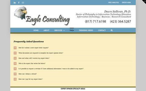 Screenshot of FAQ Page eaglepcconsulting.com - FAQs - Eagle Consulting LLC - captured Sept. 26, 2018