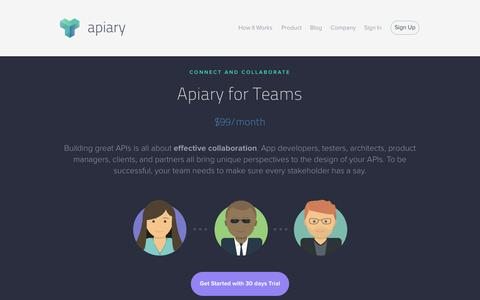 Screenshot of Products Page apiary.io - Apiary — Products - captured Sept. 13, 2014