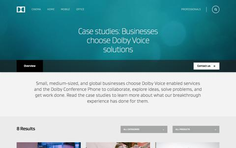Screenshot of Case Studies Page dolby.com - Case Studies: Business Chooses Dolby Voice Solutions - captured Oct. 12, 2017