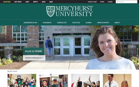 Screenshot of Home Page mercyhurst.edu - Mercyhurst University | The region's comprehensive Catholic university in the liberal arts tradition | Erie, PA - captured Feb. 1, 2016