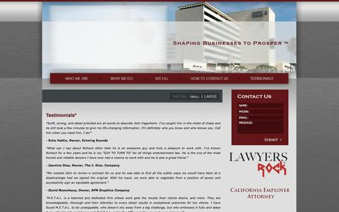 Screenshot of Testimonials Page metallawgroup.com - Los Angeles Entertainment Attorneys | Testimonials - captured Feb. 3, 2016