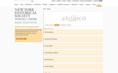 Screenshot of Menu Page nyhistory.org - New-York Historical Society | Menu - captured Oct. 26, 2014