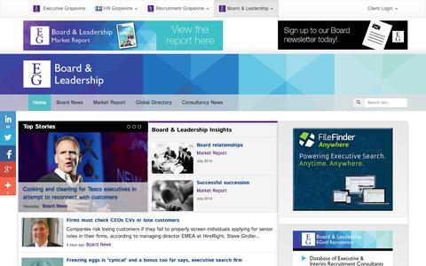 Screenshot of Press Page executive-grapevine.com - Executive Grapevine Board & Leadership - captured Oct. 28, 2014