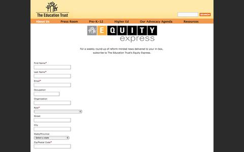 Screenshot of Signup Page edtrust.org - The Education Trust - captured Oct. 2, 2014