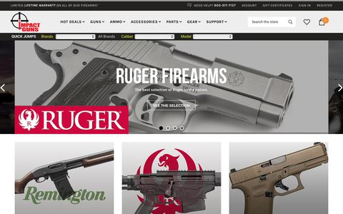 Screenshot of Home Page impactguns.com - Impact Guns - Guns, Ammo and Accessories for Sale - captured Oct. 19, 2018