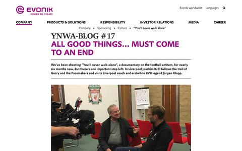 #EvonikYNWA in Liverpool - You'll never walk alone with Jürgen Klopp - Evonik Industries AG