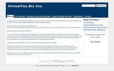 Screenshot of Privacy Page google.com - Privacy Policy - VirtualTax.Biz Inc. - captured Nov. 30, 2016