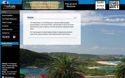 Screenshot of Home Page whalemotorinn.com - Whale Motor Inn and Restaurant in Narooma | Luxury 4 star accommodation in the centre of Narooma - captured June 15, 2016