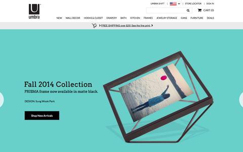 Screenshot of Home Page umbra.com - Umbra: Home Accessories, Home Decor, Gifts, Drapery  | Umbra - captured Sept. 25, 2014