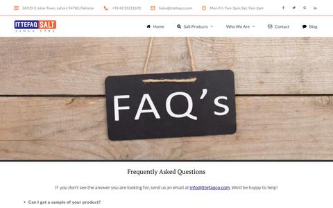 Screenshot of FAQ Page ittefaqco.com - Frequently Asked Questions - Ittefaq Trading Co. - captured Nov. 14, 2018