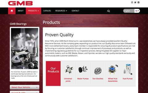 Screenshot of Products Page gmb.net - Products - GMB North America - captured Oct. 16, 2016