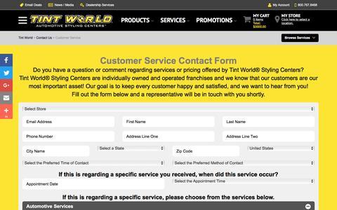 Screenshot of Support Page tintworld.com - Customer Service - Tint World - captured Jan. 3, 2017