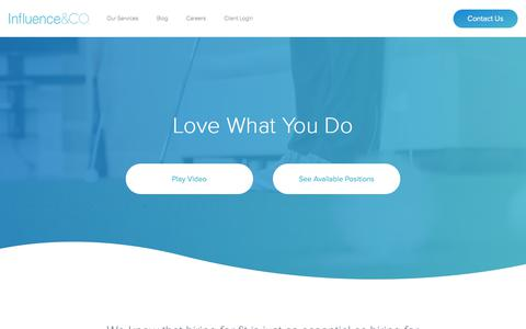 Screenshot of Jobs Page influenceandco.com - Work at Influence & Co. | Content Marketing Agency - captured April 13, 2018