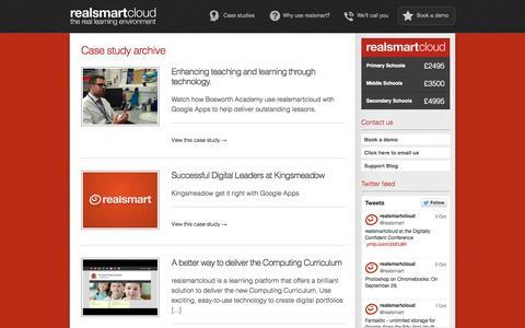 Screenshot of Case Studies Page realsmart.co.uk - realsmart: your learning portfolio - captured Oct. 7, 2014
