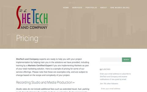 Screenshot of Pricing Page shetech.com - Pricing | SheTech and Company - captured Oct. 26, 2014