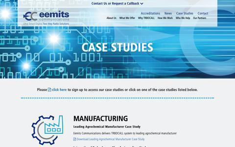 Screenshot of Case Studies Page eemits.co.uk - Case Studies | Eemits Communications - captured Sept. 27, 2018