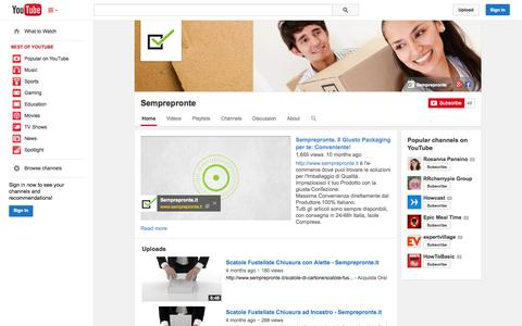 Screenshot of YouTube Page youtube.com - Semprepronte  - YouTube - captured Oct. 30, 2014