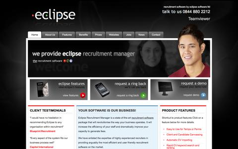Screenshot of Home Page recruitment-software.co.uk - Eclipse Recruitment Manager,  Recruitment software by Eclipse Software Ltd - captured Jan. 25, 2016
