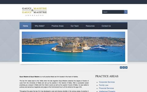 Screenshot of Home Page Site Map Page gm-advocates.com - Law Firm Malta - Gauci Maistre & Gauci Maistre Advocates - Malta Law Firm - captured Oct. 2, 2014
