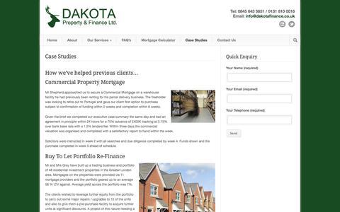 Screenshot of Case Studies Page dakotafinance.co.uk - Case Studies | Dakota Finance - captured Oct. 27, 2014