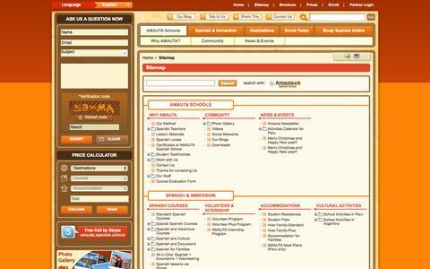 Screenshot of Site Map Page amautaspanish.com - Sitemap - Amauta Spanish School - captured Sept. 19, 2014