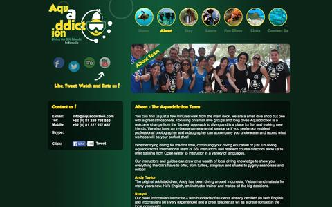 Screenshot of Team Page aquaddiction.com - Aquaddiction Dive | About The Team - captured Feb. 6, 2016