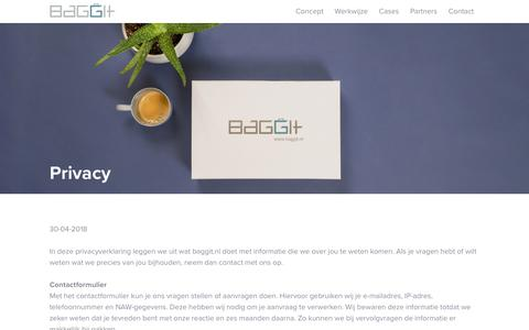 Screenshot of Privacy Page baggit.nl - Privacy - BaggIt - captured July 21, 2019