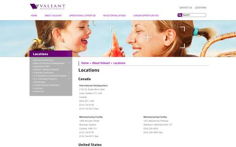 Screenshot of Locations Page valeant.com - Locations - captured Oct. 27, 2014