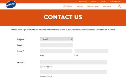Screenshot of Contact Page sunkist.com - Sunkist | Contact Us - captured July 15, 2016