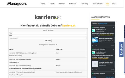 Screenshot of Jobs Page manageers.at - Jobs | Manageers Community - captured April 2, 2016