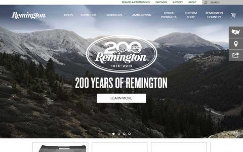 Screenshot of Home Page remington.com - Remington - captured Feb. 14, 2016