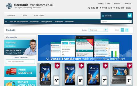 Screenshot of Products Page electronic-translators.co.uk - Language Translator Devices: All languages, all brands, all purposes - captured Feb. 7, 2018
