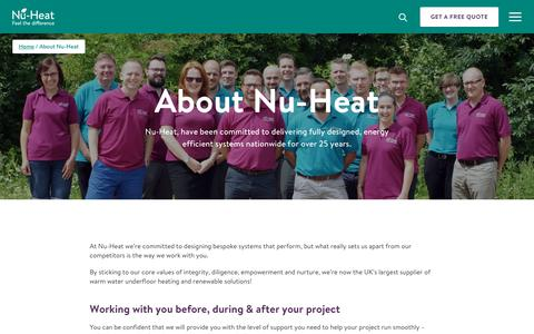 Screenshot of About Page nu-heat.co.uk - Underfloor Heating Specialists, The UK's Largest Supplier | Nu-Heat - captured July 12, 2019