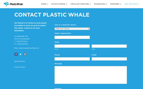 Screenshot of Jobs Page plasticwhale.com - Contact Plastic Whale - captured July 19, 2018