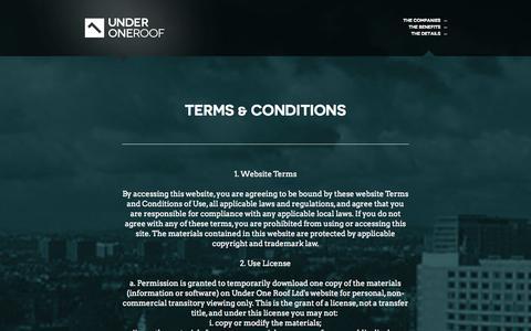 Screenshot of Terms Page underoneroof.com captured Oct. 3, 2014
