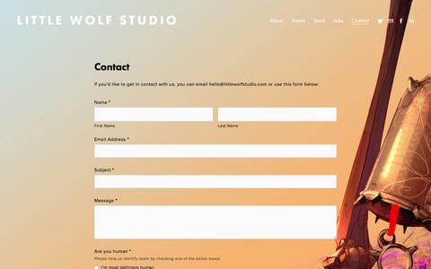 Screenshot of Contact Page littlewolfstudio.com - Contact — Little Wolf Studio - captured July 15, 2016