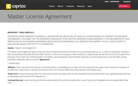 Screenshot of Terms Page capriza.com - Master License Agreement - Capriza - captured July 3, 2015