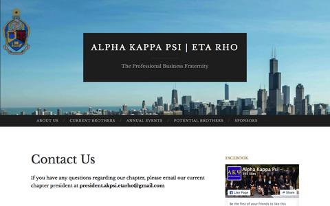 Screenshot of Contact Page uicakpsi.org - Contact Us | Alpha Kappa Psi | Eta Rho - captured Feb. 5, 2016
