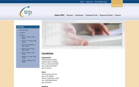 Screenshot of Contact Page Locations Page trpcpa.com - Locations - TRP CPA - captured Feb. 16, 2016