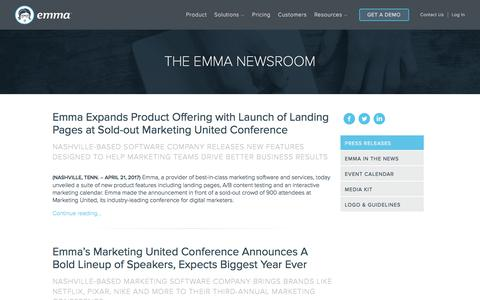Screenshot of Press Page myemma.com - Emma Email Marketing Newsroom | Emma Email Marketing - captured June 12, 2017