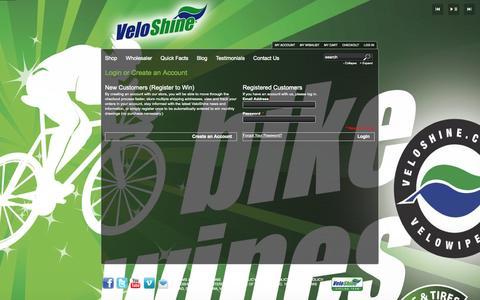 Screenshot of Login Page veloshine.com - Customer Login - captured Oct. 7, 2014
