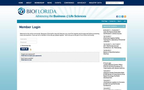Screenshot of Login Page site-ym.com - BioFlorida, Inc. - captured Oct. 10, 2017