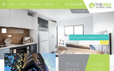 Screenshot of Home Page thepad.com.au - THE PAD Student Living - Purpose Built Student Accommodation Brisbane, Sydney & Melbourne - captured Dec. 1, 2016